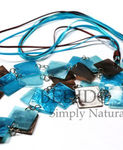 Capiz Shell Long Necklace Blue Brown Tones