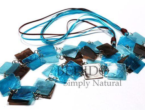 Capiz Shell Long Necklace Blue Brown Tones