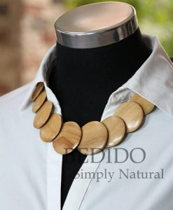flat round wood necklace