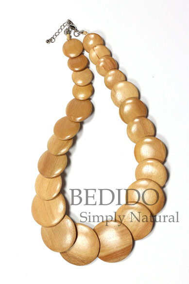 round flat wood beads necklace