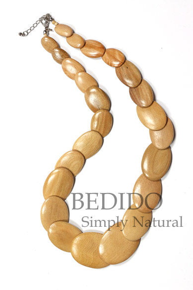 flat oval wood necklace