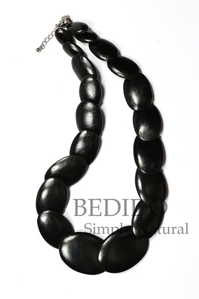 Black Oval Wood Beads Necklace