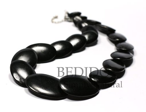 black flat oval wood beads necklace