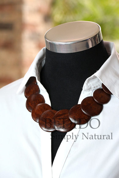 Ladies Round Flat Brown Wood Beads Necklace