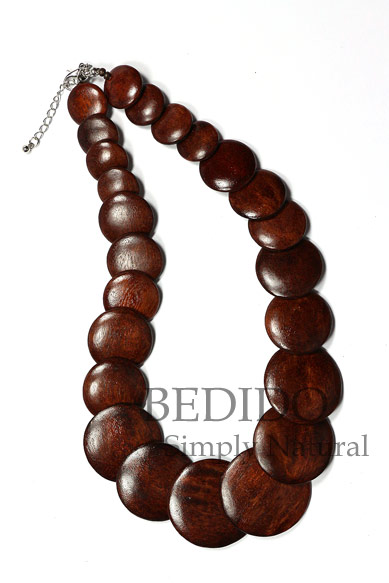 Brown Round Wood Beads Necklace
