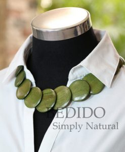 Womens Green Round Wood Necklace