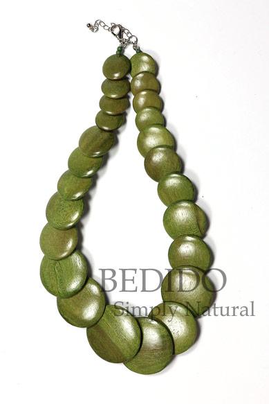 Flat Round Green Wood Ladies Necklace