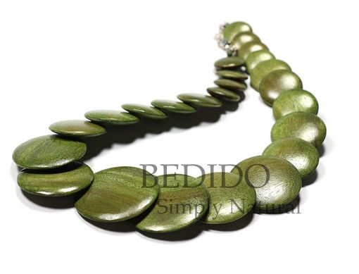 Green Flat Round Wood Beads Necklace