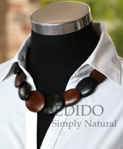 womens alternate black brown wood necklace