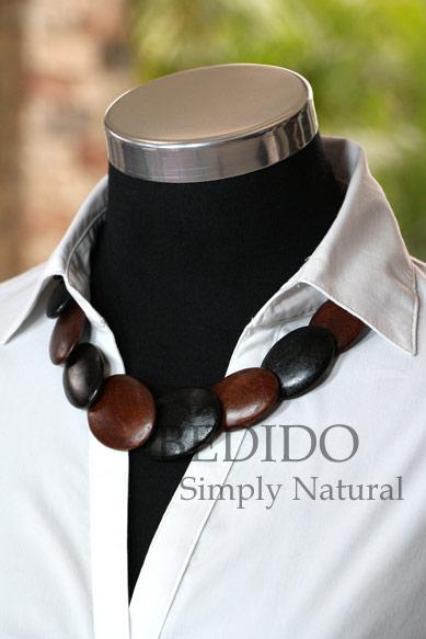 womens alternate black brown wood necklace