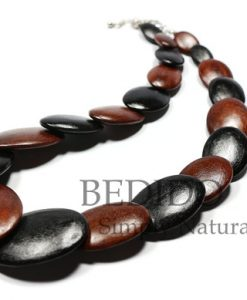Alternate Black Brown Oval Wood Necklace