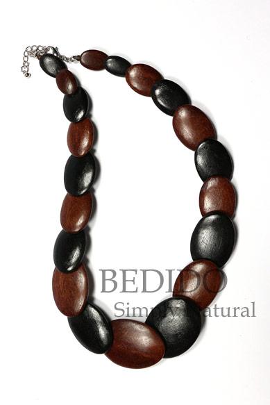 ladies alternate black brown wood necklace