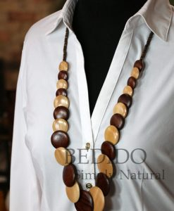 womens chunky wood long necklace