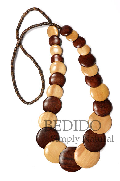 ladies chunky wood long necklace