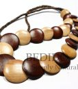 chunky long alternate wood beads necklace