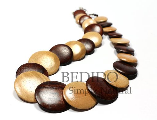 alternate brown natural flat wood beads necklace
